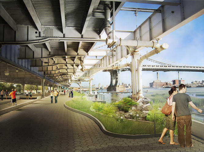 <p>Underneath FDR Drive, grass and pedestrian zones create &quot;soft edges&quot; that can withstand the impact of storm surges.</p>