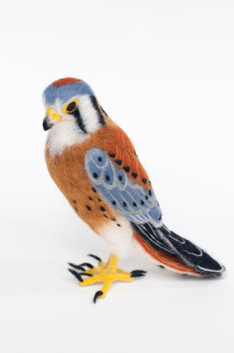 <p>Mino uses Merino wool for the fine detailing, like the feathers on this Kestrel.</p>