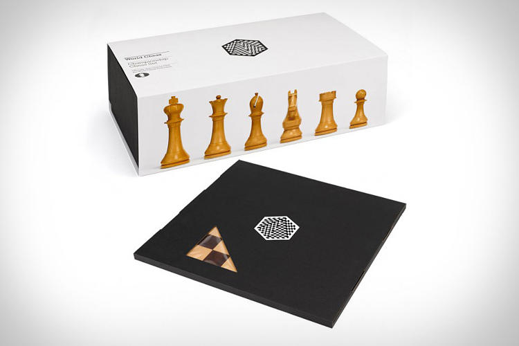 <p>Carlsen was playing on a newly redesigned chess set by Pentagram partner Daniel Weil.</p>