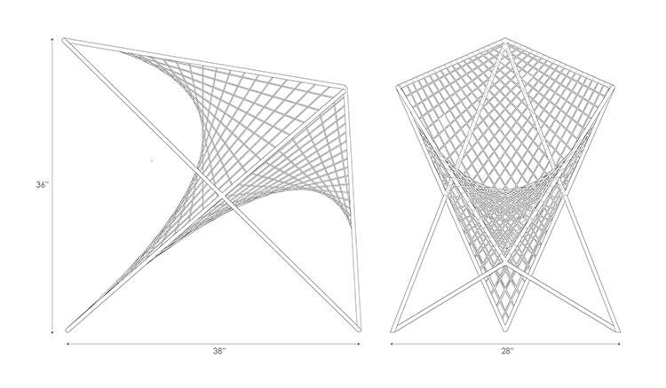 <p>Elevation drawings of the chair.</p>