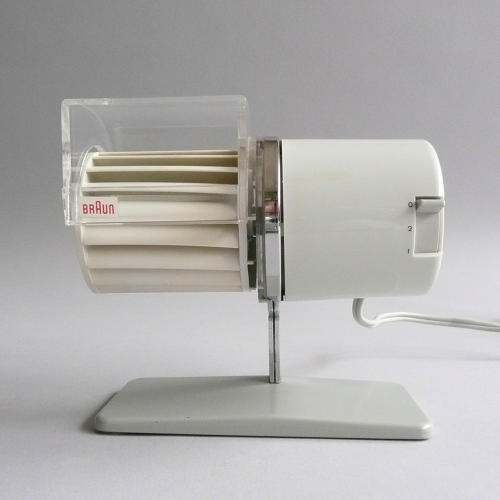 <p>Braun HL 1 multiwind (HL 1 Multiwind Reinhold Weiss, 1961). A quirky desktop fan design by one of the unsung design talents contributing to the golden age of Braun, and just a few hundred bucks on the collectors market.</p>