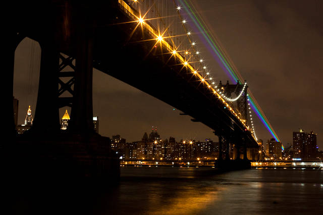 A 35-Mile Laser Rainbow Illuminates New York As A Memorial To Sandy's Victims