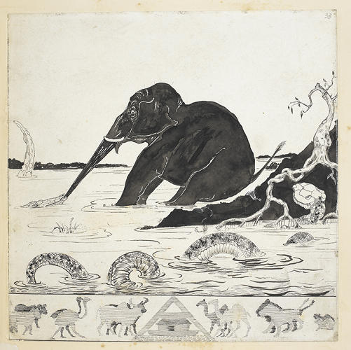 <p>Autograph printer's copy of 'The Elephant's Child',  Just So Stories. Illustrations by Rudyard Kipling. &quot;The initial ideas for the exhibit stemmed from my childhood correspondence with children's writers and illustrators, and my collection of illustrators' drawings (see Paddington Bear!),&quot; says Eve.</p>