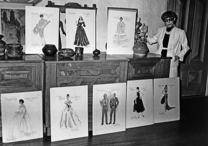 <p>Head with a collection of her sketches. Though not confirmed, her trademark round spectacles, close-cropped black hair, and straight-shooting personality are said to have inspired Edna Mode's character in Pixar's <em> The Incredibles</em>.</p>