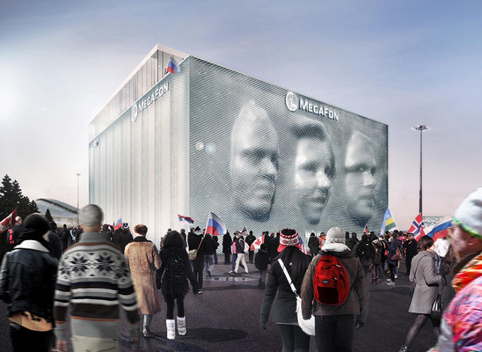 <p>Asif Khan's Sochi installation will morph the facade of a pavilion from mobile telecommunications operator MegaFon into an interactive, 3-D display of visitors' faces.</p>
