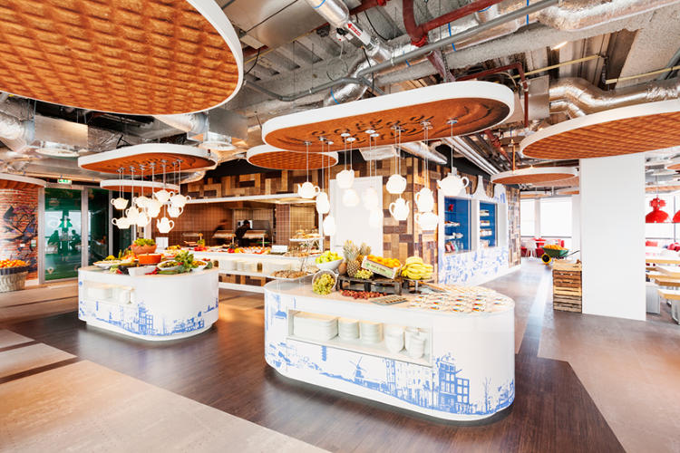 <p>The Amsterdam office features stroopwafel ceiling tiles.</p>