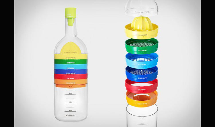 <p>From Japan--home to the tiniest kitchens on Earth--the Bin 8 is a stylish water bottle that breaks apart, Voltron-like, into an assortment of various gadgets.</p>