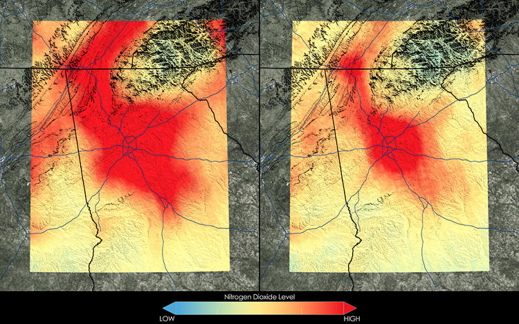 <p>Atlanta has seen a 42 percent decrease in nitrogen dioxide between the 2005-2007 (left) and 2009-2011 (right) periods. Nitrogen dioxide is a nasty yellow-brown gas that gives humans breathing problems, contributes to acid rain, and disturbs ecosystems.</p>