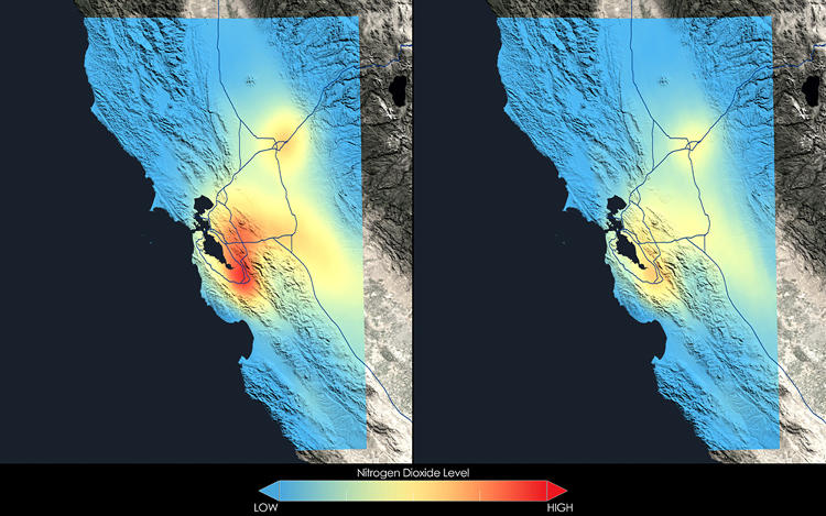 <p>These images show how nitrogen dioxide in the San Francisco Bay area changed between the 2005-2007 (left) and 2009-2011 (right) periods.</p>