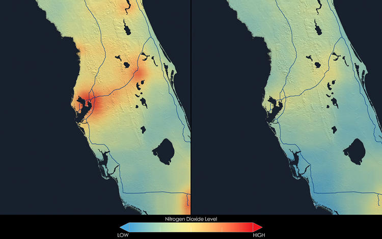 <p>These images show nitrogen dioxide in Tampa, averaged over 2005 (left) and 2011 (right).</p>
