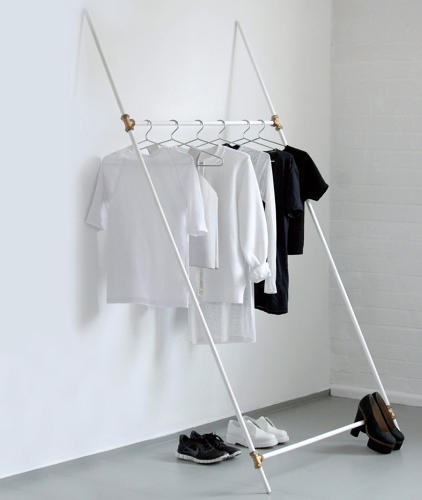 <p>Love Aesthetics used basic plumbing parts to make this clothing rack, and kept the design as easy and uncomplicated as possible. To make it, you'll need four plumbing tubes, all 7/8 inch in diameter, two 80 inches long and two 40 inches long, four three-way joints for plumbing tubes, and some tape.</p>