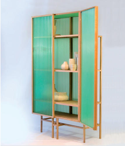 <p>The Sine Cabinet, by Dutch designer Dik Scheepers, is made from corrugated PVC, which people often consider a throwaway material. When combined with oak, its underestimated beauty shines through.</p>