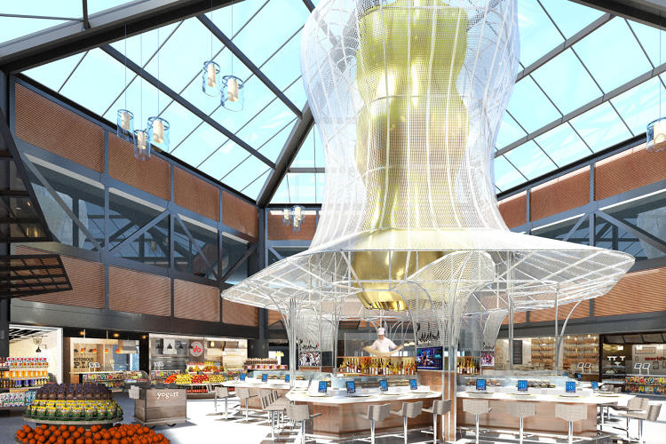 <p>Rockwell's designers plan to use landmarks in each of the gate clusters to help guide people. At a ramen bar, for example, the chef will be elevated on a stage-like platform as he pulls up fresh noodles.</p>
